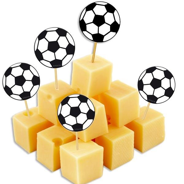 Fußball Dekopicker Holzstab 20 Stück für Fußballtorte oder Fußballkuchen