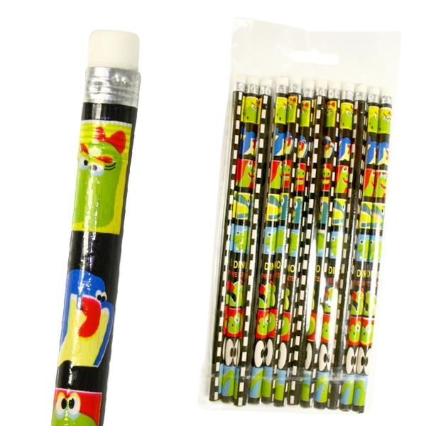 Dino-Bleistifte mit Radiergummi , coole Holzbleistifte im 12er Pack