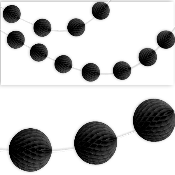Wabenball-Raumgirlande, 2,13m, schwarz
