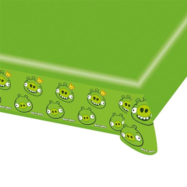 Angry Birds Tischtuch grün 1,2×1,8m, Geburtstagstischdecke aus Folie