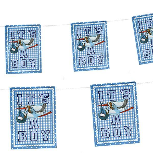 Mini-Wimpelkette IT'S A BOY blau für Babyparty zur Geburt von Jungs, 4m