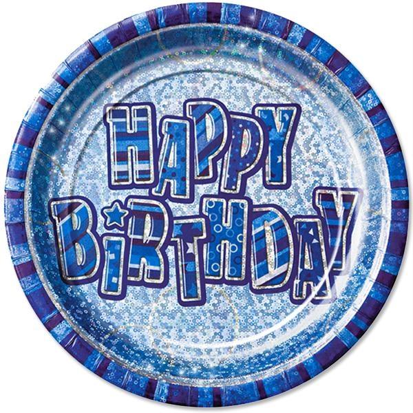 Glitzernde Partyteller HAPPY BIRTHDAY blau Jungengeburtstag 8er,23 cm