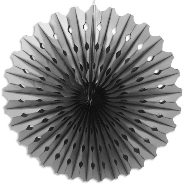 Deko-Fächer silbern 45 cm mit Schnur zum Aufhängen, aus Papier