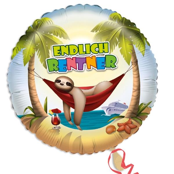 """Faultier Folienballon, """"Endlich Rentner"""", rund, 1 Stk"""