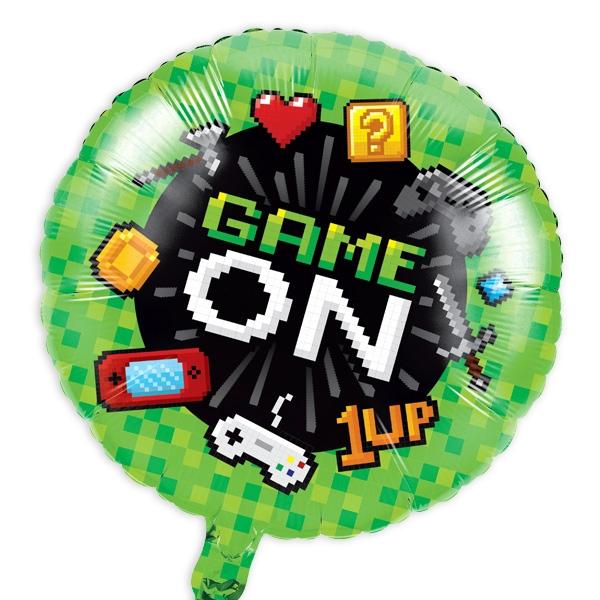 """""""Game On"""" runder Folienballon, 46cm, im Computerspiele-Design, 1 Stück"""