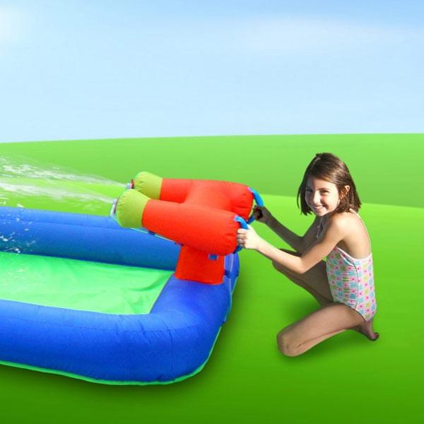 Doppel-Wasserrutsche mit Wasserkanone, zum Kaufen