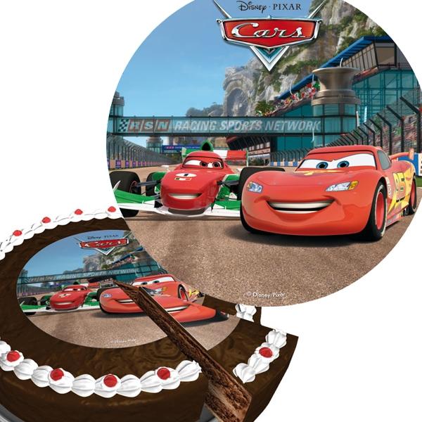 Cars Tortenaufleger aus Zucker 16cm mit Rennwagen Lightning McQueen
