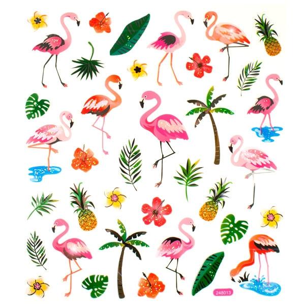 Flamingo Glitzersticker mit Metallic-Effekt, 1 Bogen mit 15 × 16,5 cm Größe