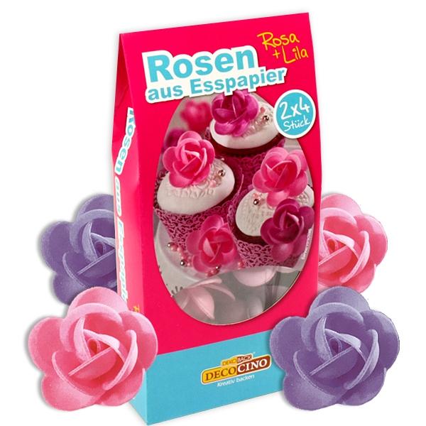Oblaten Rosen rosa/lila, 8 Rosen-Dekore für Tortendeko aus Esspapier