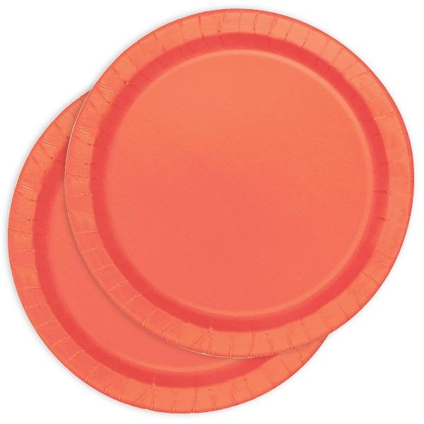 Pappteller einfarbig korallenfarben, Durchmesser von 22cm, 16 Stück