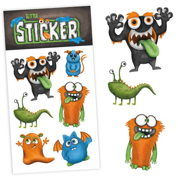 Glitzersticker Monster, coole Kinder-Sticker als Mitgebsel, 1 Karte