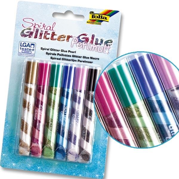Glitter-Glue Spiralen Perlmutt, 6er Pack, mit eingedrehten Farben, Bastel-Idee, Glitzerstifte für Kinder