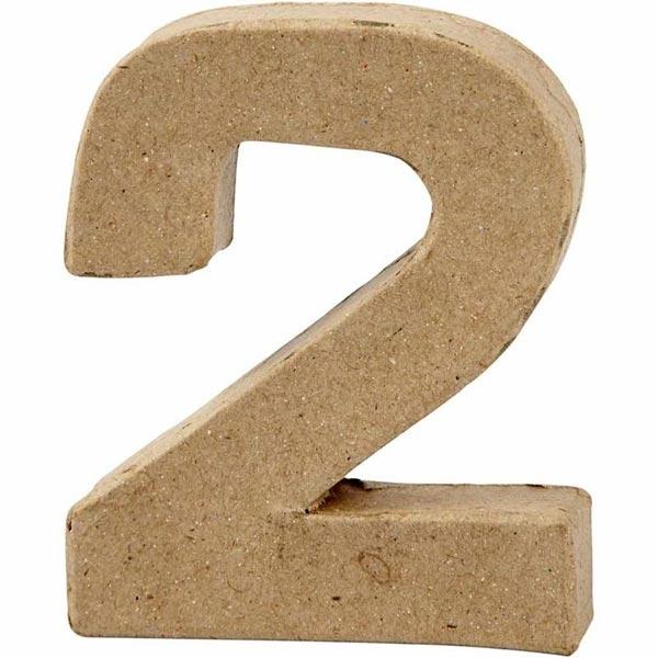 Zahl 2, handgearbeitet aus Pappe, zum Basteln, Bemalen, Verzieren