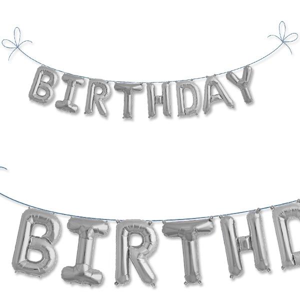 Mini Folieballon Set Birthday, silberne Buchstabenkette aus Folie, ca. 2 m
