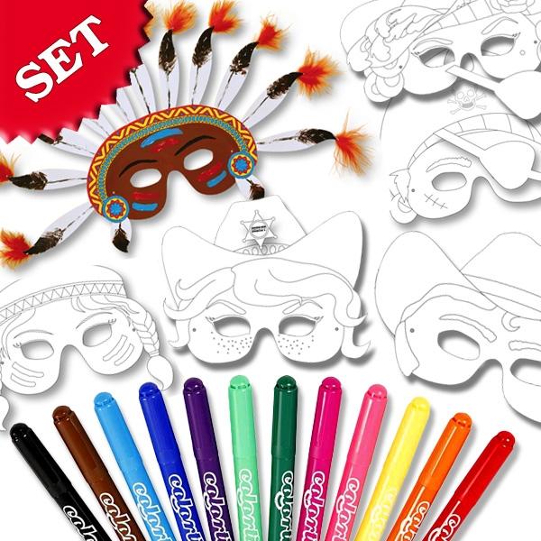 Kindermasken-Malset für 6 tolle Partymasken +12 Filzstifte im Set