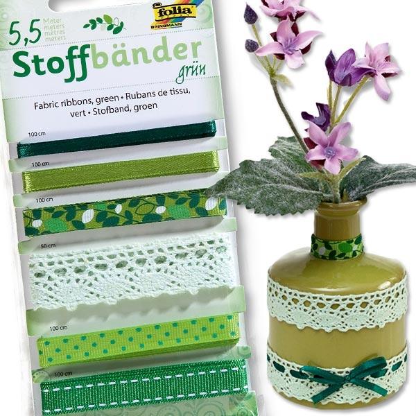 Stoffbänder Set in Grün-Weiß; insg. 5,5m, tolle Designs, 100% Polyester