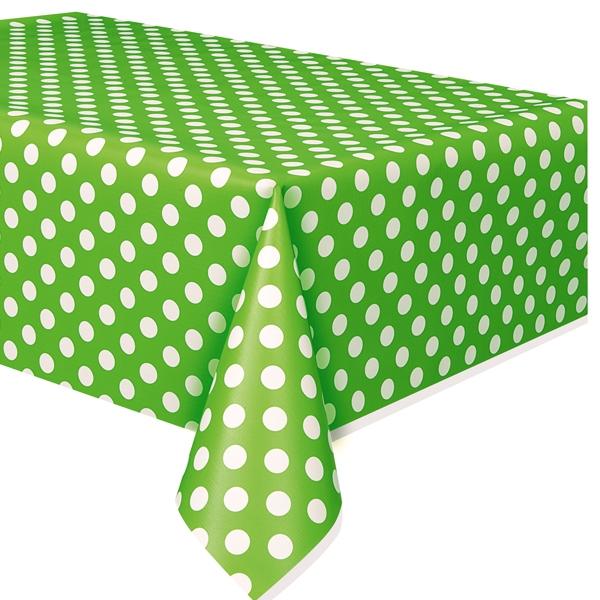 grüne Tischdecke mit weißen Punkten aus Folie, 1,4 × 2,7 m, abwischbar