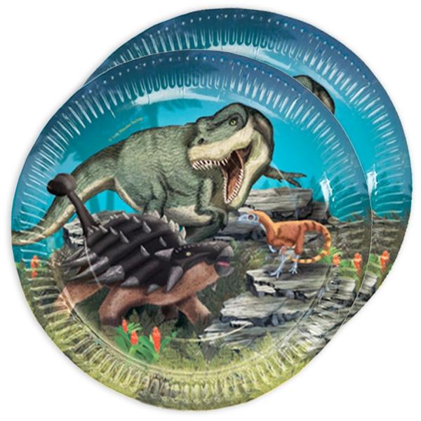 Dinosaurier Partyteller, 8 Stück, Pappe