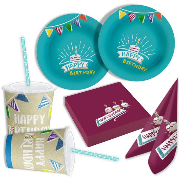 Basicset My Happy Birthday! 54 tlg, für 8 Gäste