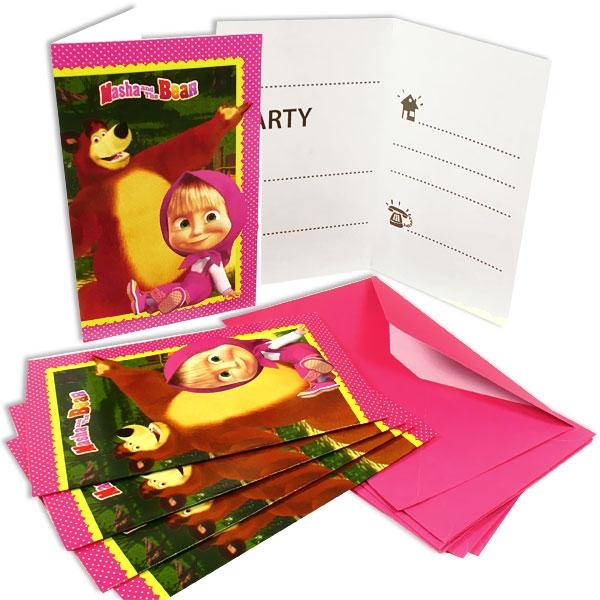 Mascha und der Bär Einladungskarten, 6er Pack inkl. Umschlägen in pink