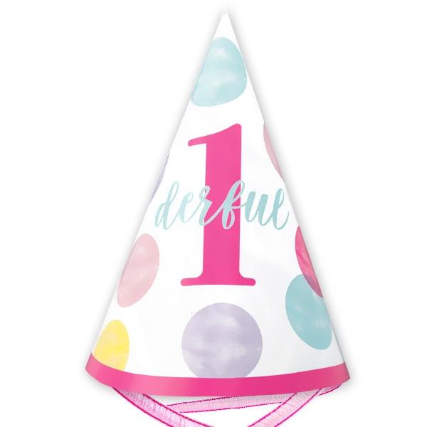 PINK DOTS Partyhut  1 Stk, mit pinkem Band, 1. Geburtstag, 15cm