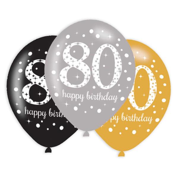 Latexballons 80. Geburtstag, 6er Pack, 27,5cm