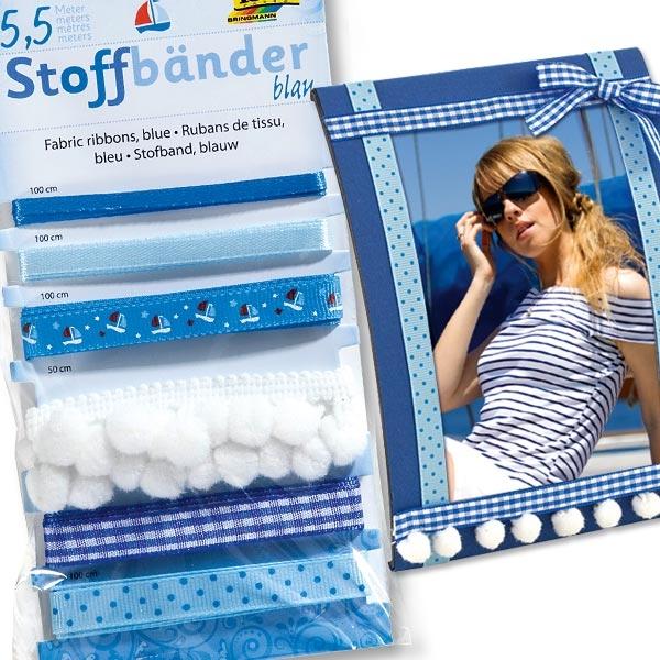 Blau-weiße Stoffbänder insg. 5,5 m aus 100 % Polyester, tolle Muster