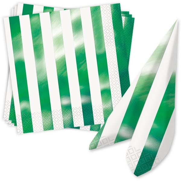 Metallic grün gestreifte Servietten, 16 Stück