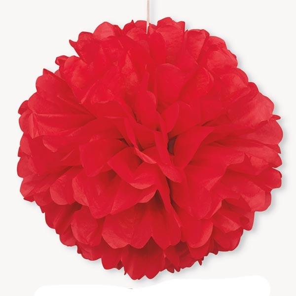 Puffball in Rot mit Band, 1 roter Pompom als Hängedeko, 40cm
