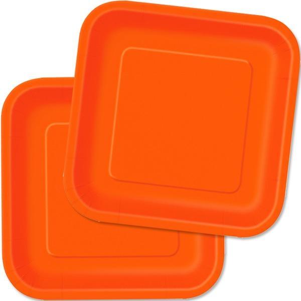 Eckige Partyteller in Orange, hübsche Einwegteller aus Pappe, 16 Stk., 18cm