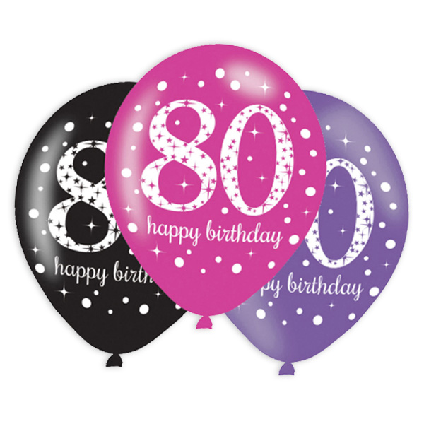 Luftballons zum 80. Geburtstag, 6 Stk, 27,5cm