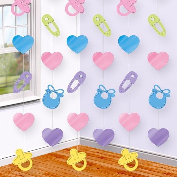 Baby Shower Hängedeko Folie mit niedlichen Babysymbolen, 2,1 m