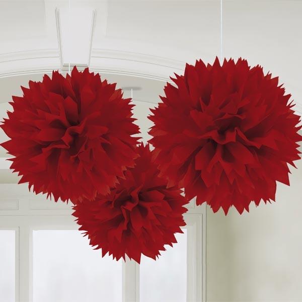 Rote Pompon-Deko, 3er Pack, fluffige Raumdekoration, 40,64cm, Muttertag, Valentinstag, Liebesthema