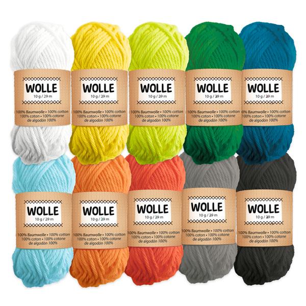 10 Knäule Wolle, intensive Farben