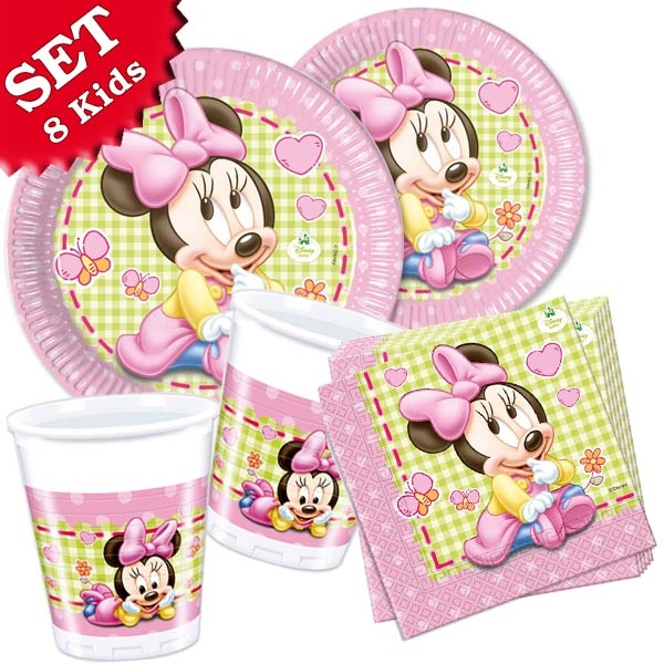 Baby Minnie BasisSet, 36-teilig für 8 Personen, süße Babyparty-Tischdeko