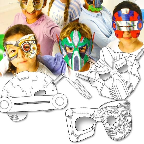 Weltraum-Masken im 6er Pack, futuristische Kindermasken, Pappe