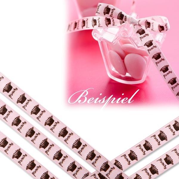 Prinzessin Schleifenband 10m rosa, Satinband mit Aufdruck Princess