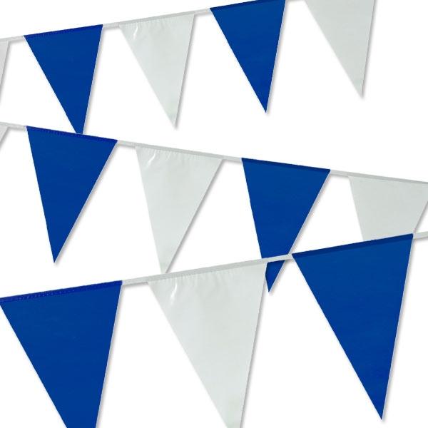 Wimpelkette in Blau/Weiß, 10m, PVC, in den Farben Ihres Vereines, 1 Stück