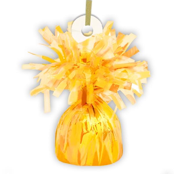Ballongewicht gelb Metallic 13cm mit hübschen Fransen, glänzende Folie