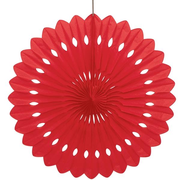 Fächerblume rot, 40cm, mit langem Klebepad und Schnur zum Befestigen