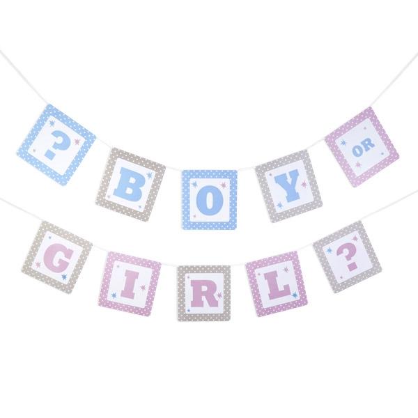 """""""Tiny Feet"""" - Boy or Girl? - Babyparty, Girlande, 1 Stück, 2,5 m"""