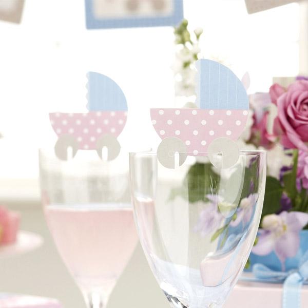 """Baby Shower """"Tiny Feet"""" Glas-Dekoration, 10 Stk"""