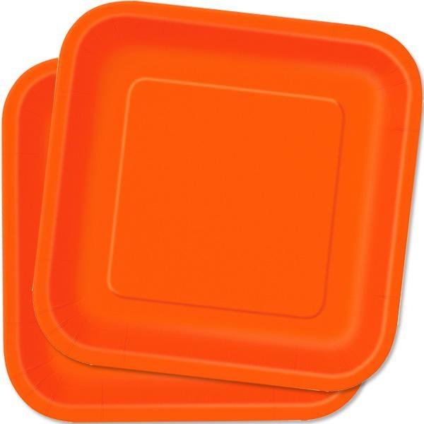 Eckige Partyteller in Orange, hübsche Einwegteller aus Pappe, 14 Stk., 23cm