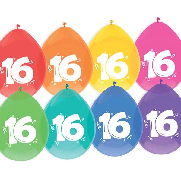 """Luftballons, bedruckt mit der Zahl """"16"""""""