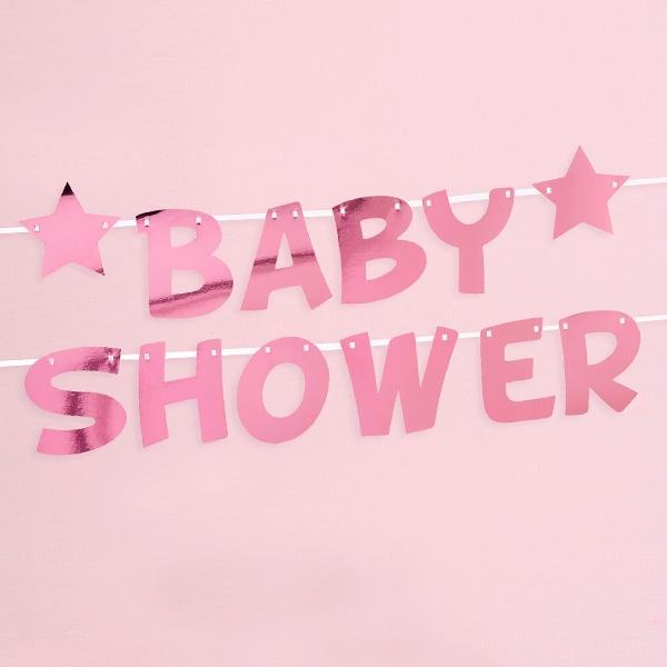 Baby Shower Buchstabenkette in pink, 2,5m