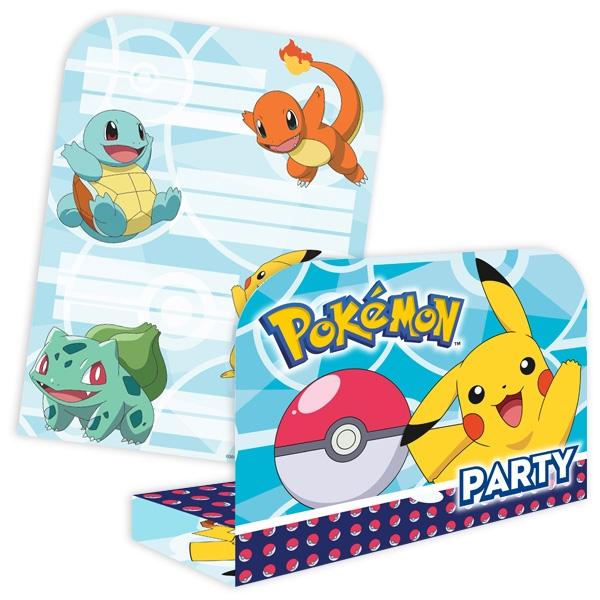 """Einladungen """"Pokemon"""" mit Umschlägen, 8er"""