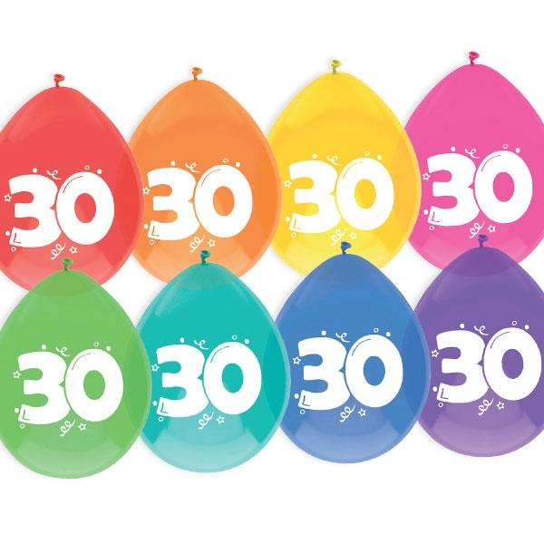 """Luftballons, bedruckt mit der Zahl """"30"""""""