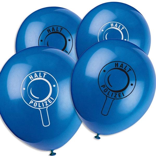 Polizei-Luftballons mit Aufschrift HALT-POLIZEI aus Latex im 8er Pack
