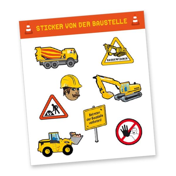 """Stickerbogen """"Baustelle"""" mit 8 Stickern"""