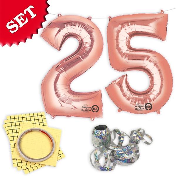 "XXL Folieballons Zahl ""25"", rose gold"